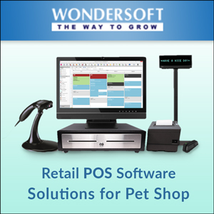 A square box in dark and light blue shades, Retail POS Software that provide solutions for pet shops installed in device